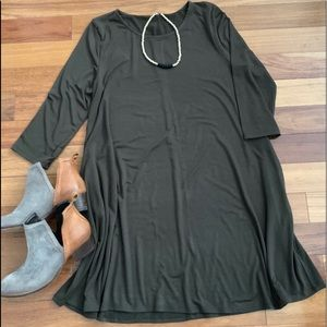 Women's Olive Tunic Dress with Pockets!